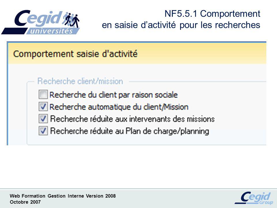 Web Formation Gestion Interne Version 2008 Octobre 2007 NF6 Gestion des frais en comptabilité Liste des Nouveautés ( Par convention notée NF) –NF6.1 Nouveau Paramétrage analytique –NF6.2 Choix du type décritures généré –NF6.3 Consultation de lécriture comptable depuis la saisie dactivité –NF6.4 Comportement en saisie des frais