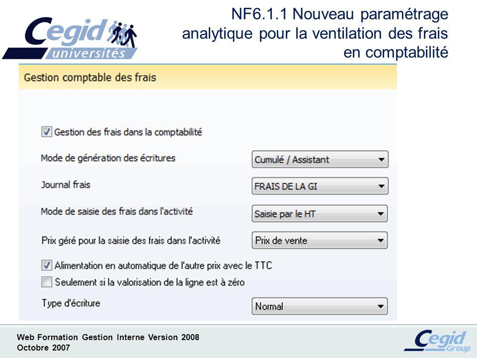 Web Formation Gestion Interne Version 2008 Octobre 2007 NF6.2.1 Choix du type décritures générés