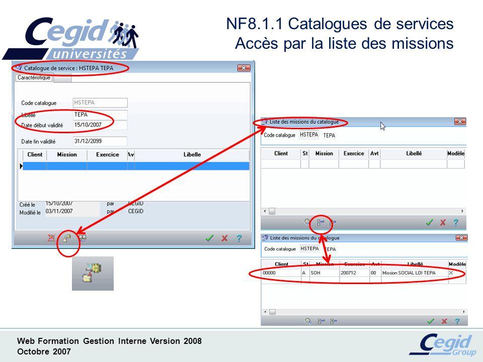 Web Formation Gestion Interne Version 2008 Octobre 2007 NF8.2.1 Catalogues de services Nouveau concept