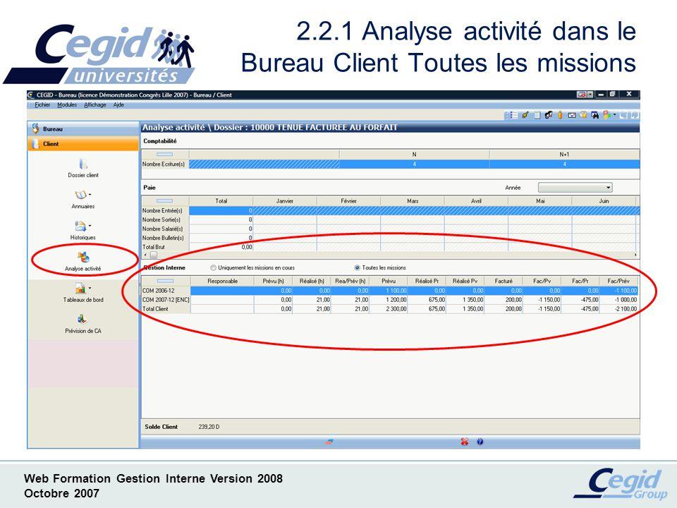 Web Formation Gestion Interne Version 2008 Octobre 2007 2.2.2 Analyse activité dans le Bureau Client Missions en cours