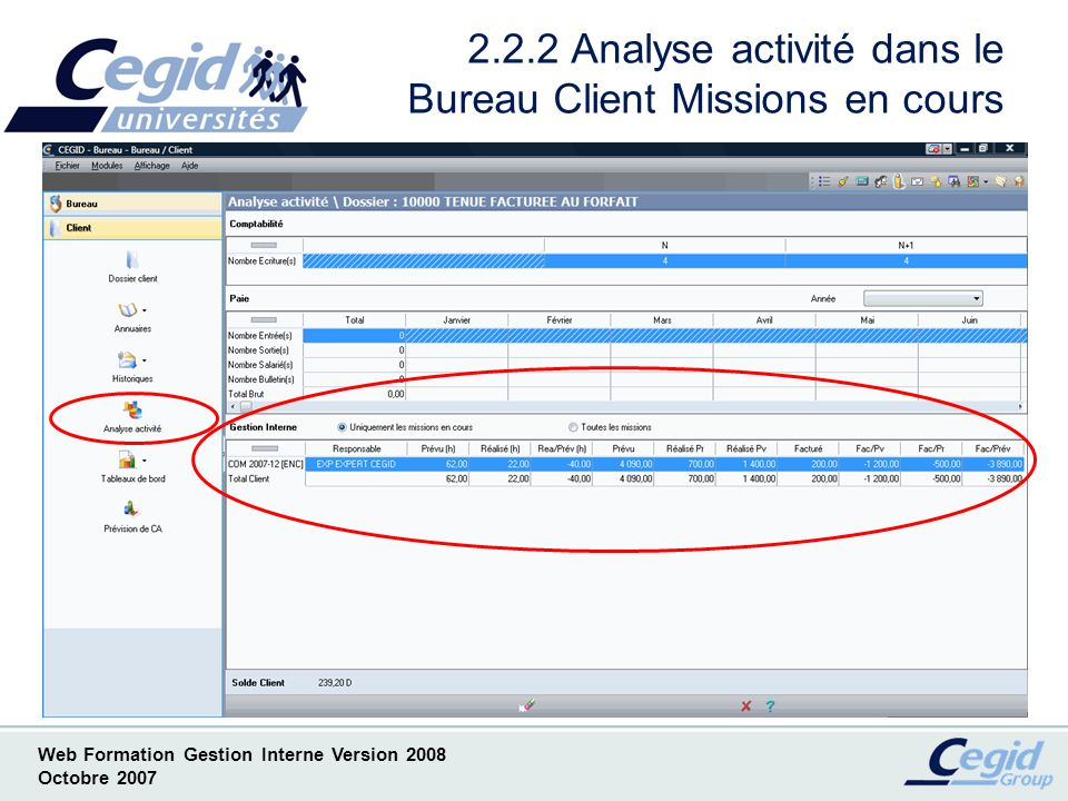 Web Formation Gestion Interne Version 2008 Octobre 2007 2.2.3 Analyse activité dans le Bureau Client Missions en cours