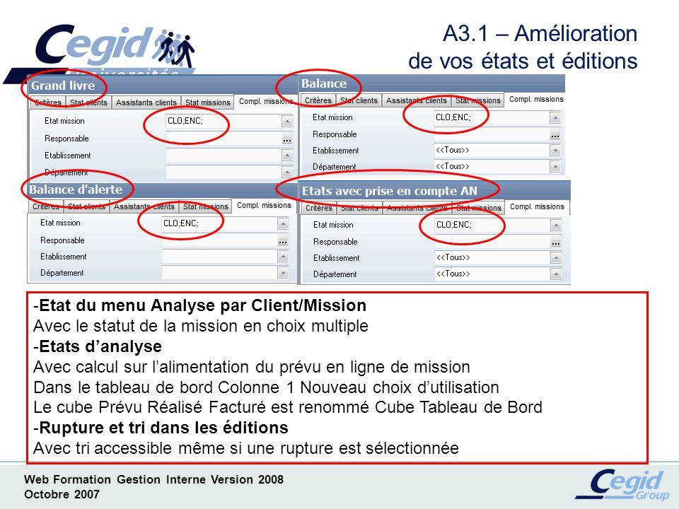 Web Formation Gestion Interne Version 2008 Octobre 2007 A4 - Amélioration de alertes