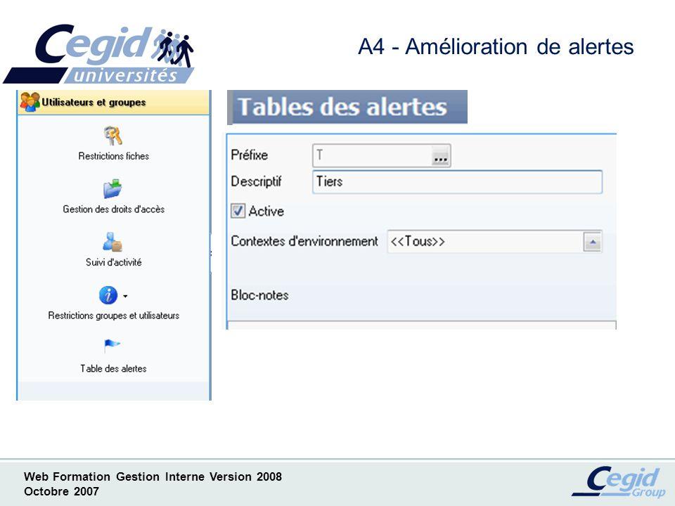 Web Formation Gestion Interne Version 2008 Octobre 2007 A5- Amélioration de gestion des accès