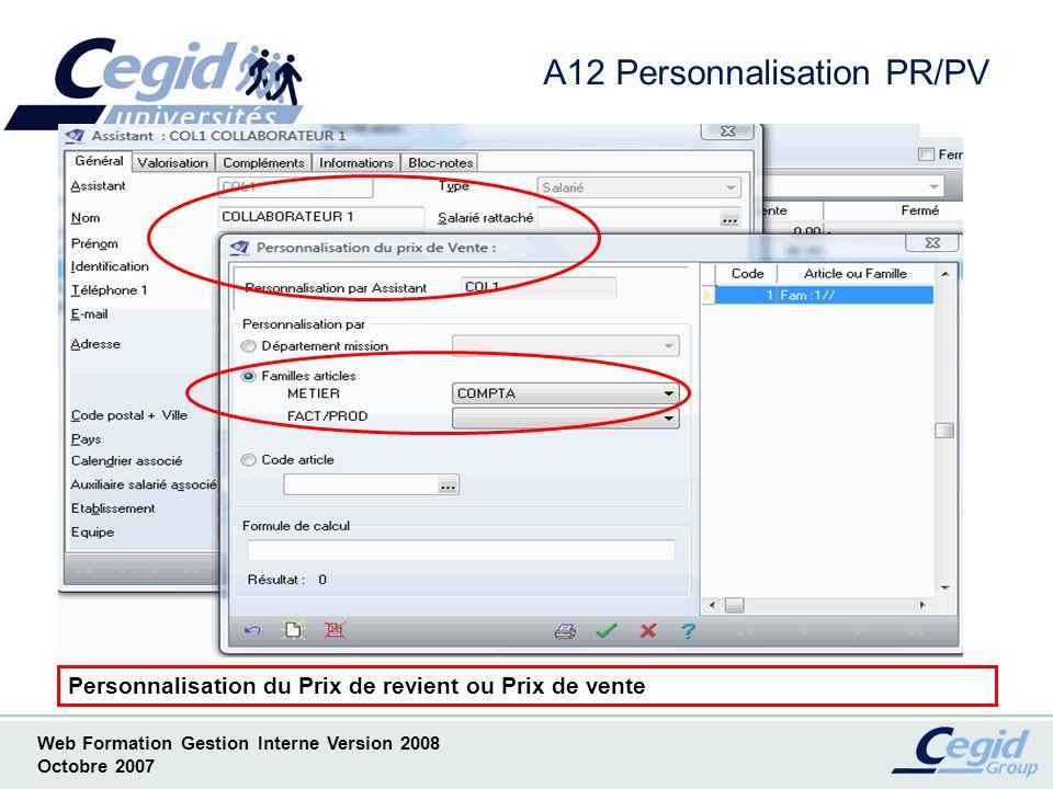 Web Formation Gestion Interne Version 2008 Octobre 2007 A13 Documents OLE EXCEL - Copie écran de lAide en Ligne -