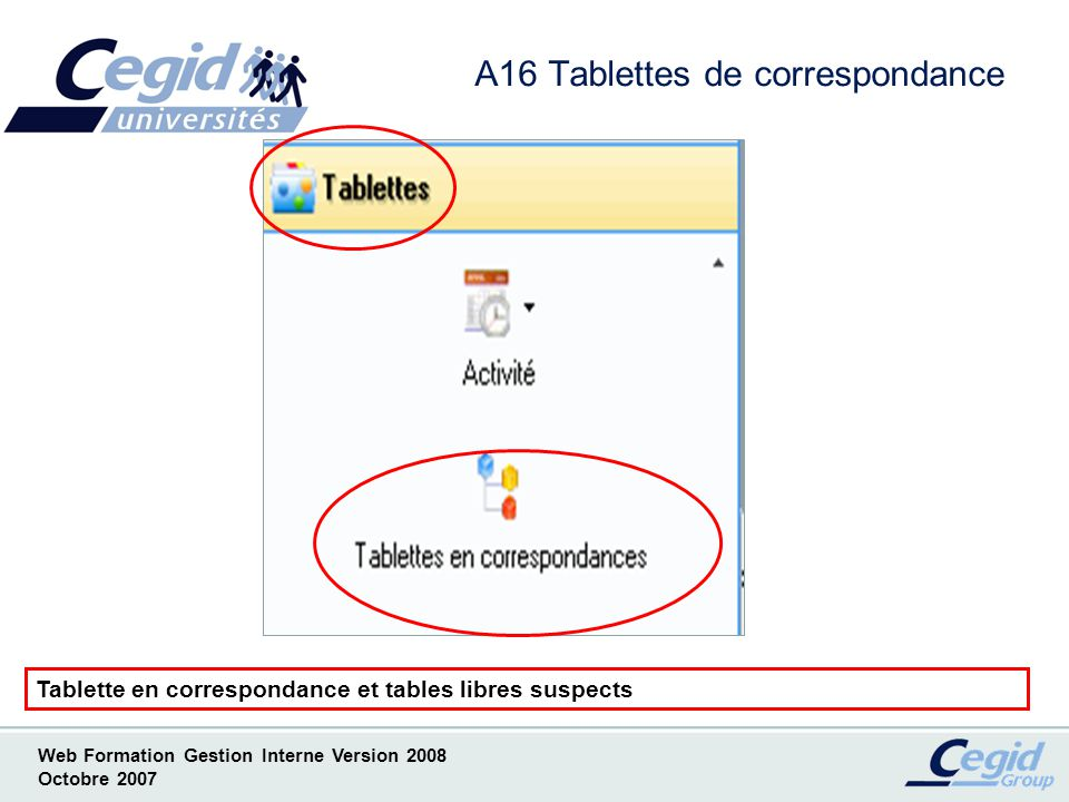 Web Formation Gestion Interne Version 2008 Octobre 2007 A16 Tablettes de correspondance Tablette en correspondance et tables libres suspects