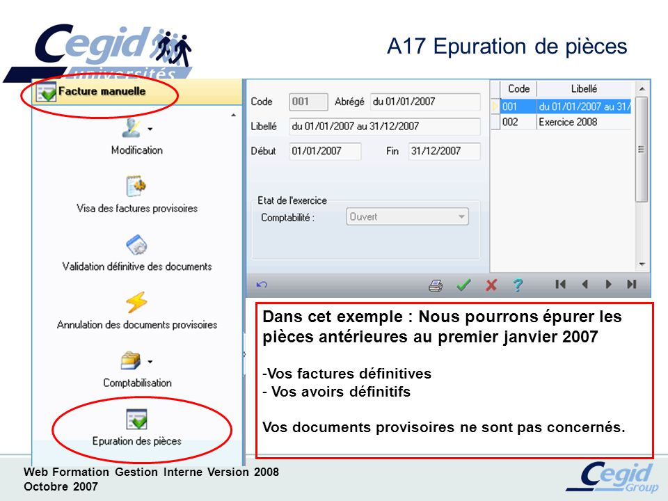 Web Formation Gestion Interne Version 2008 Octobre 2007 A18 Tarifs Tarifs