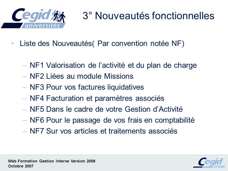 Web Formation Gestion Interne Version 2008 Octobre 2007 NF1 Valorisation activité & plan de charge Avec Option Facturation Fournisseur - Copie écran de lAide en Ligne -