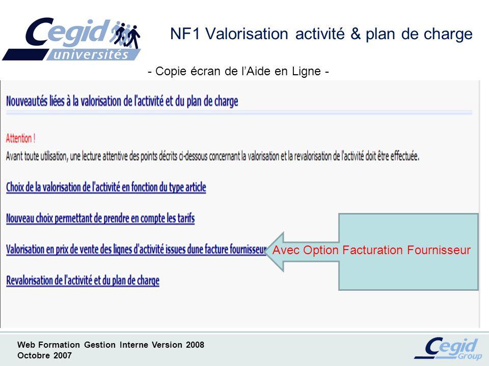 Web Formation Gestion Interne Version 2008 Octobre 2007 NF1.1 Choix de la valorisation en fonction du type darticle Méthode Prestations Méthode Frais Méthode Fournitures