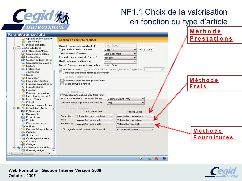 Web Formation Gestion Interne Version 2008 Octobre 2007 Valorisation par tarif Ce mode de valorisation nest accessible que pour la valorisation de lactivité en prix de vente.