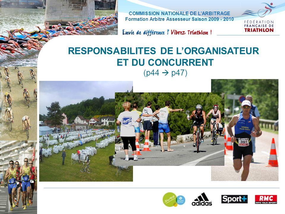COMMISSION NATIONALE DE LARBITRAGE Formation Arbitre Assesseur Saison 2009 - 2010 RESPONSABILITES DE LORGANISATEUR ET DU CONCURRENT (p44 p47)