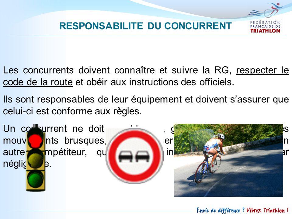 RESPONSABILITE DU CONCURRENT Les concurrents doivent connaître et suivre la RG, respecter le code de la route et obéir aux instructions des officiels.