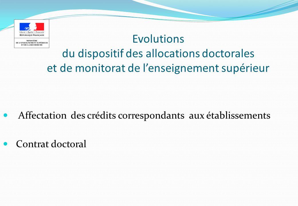 Evolutions du dispositif des allocations doctorales et de monitorat de lenseignement supérieur Affectation des crédits correspondants aux établissements Contrat doctoral