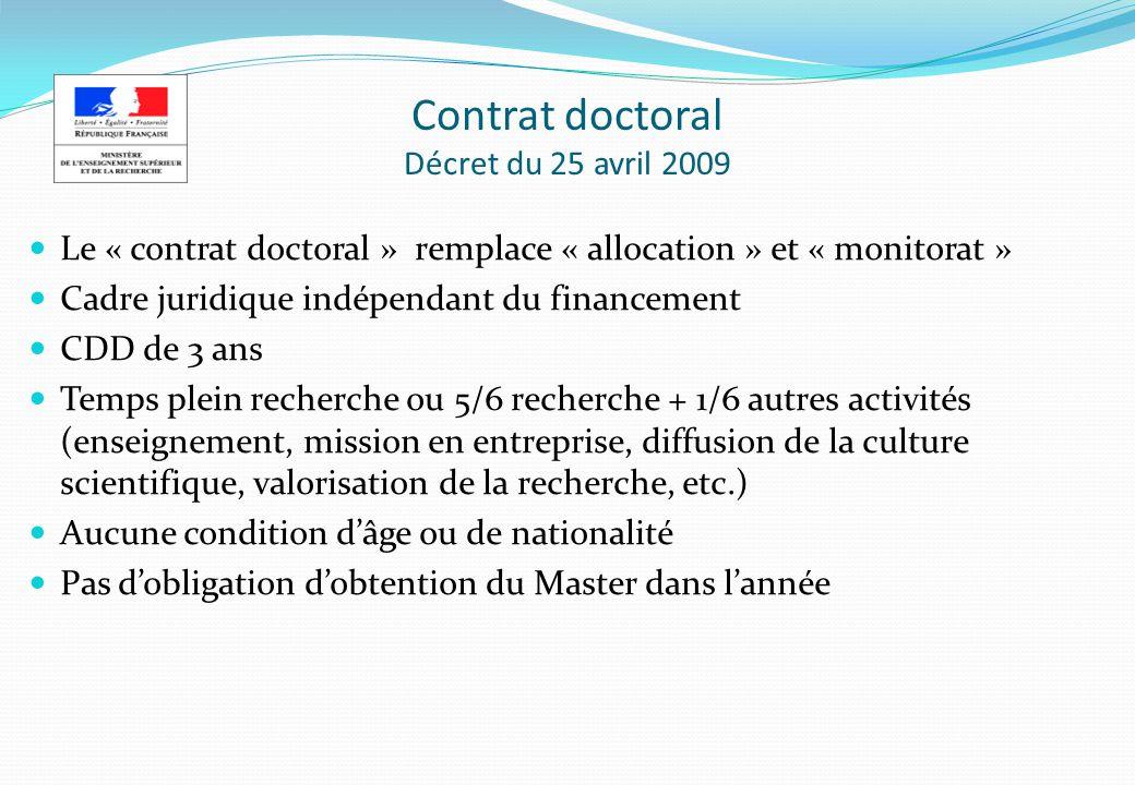 Contrat doctoral Décret du 25 avril 2009 Le « contrat doctoral » remplace « allocation » et « monitorat » Cadre juridique indépendant du financement C