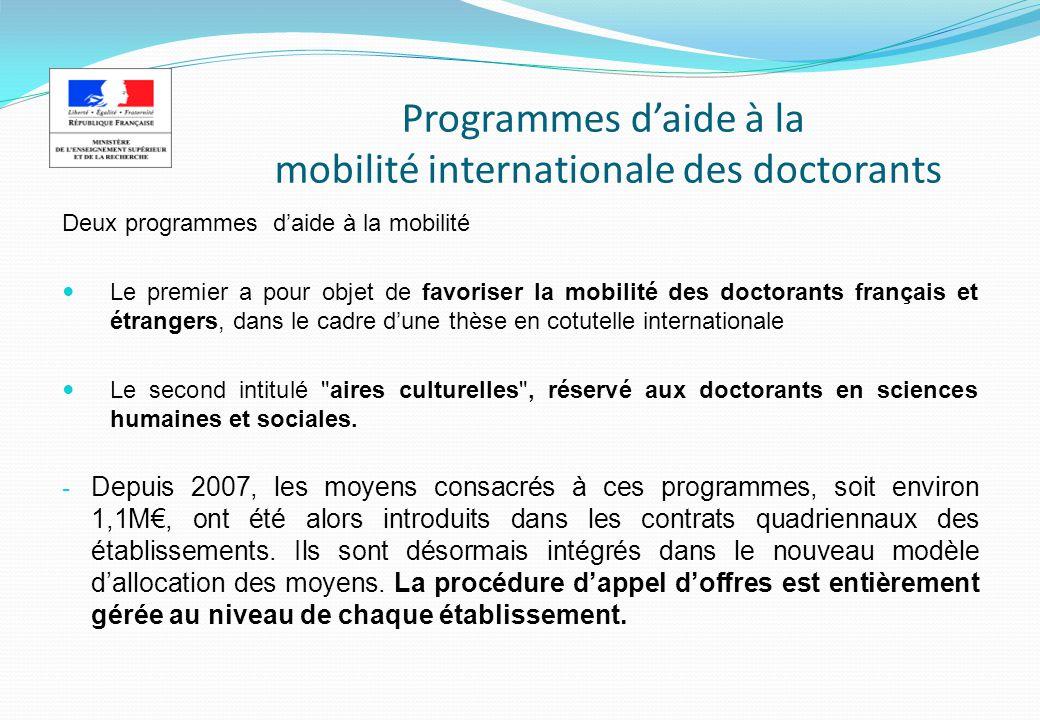 Programmes daide à la mobilité internationale des doctorants Deux programmes daide à la mobilité Le premier a pour objet de favoriser la mobilité des