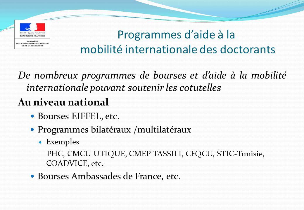 Programmes daide à la mobilité internationale des doctorants De nombreux programmes de bourses et daide à la mobilité internationale pouvant soutenir les cotutelles Au niveau national Bourses EIFFEL, etc.