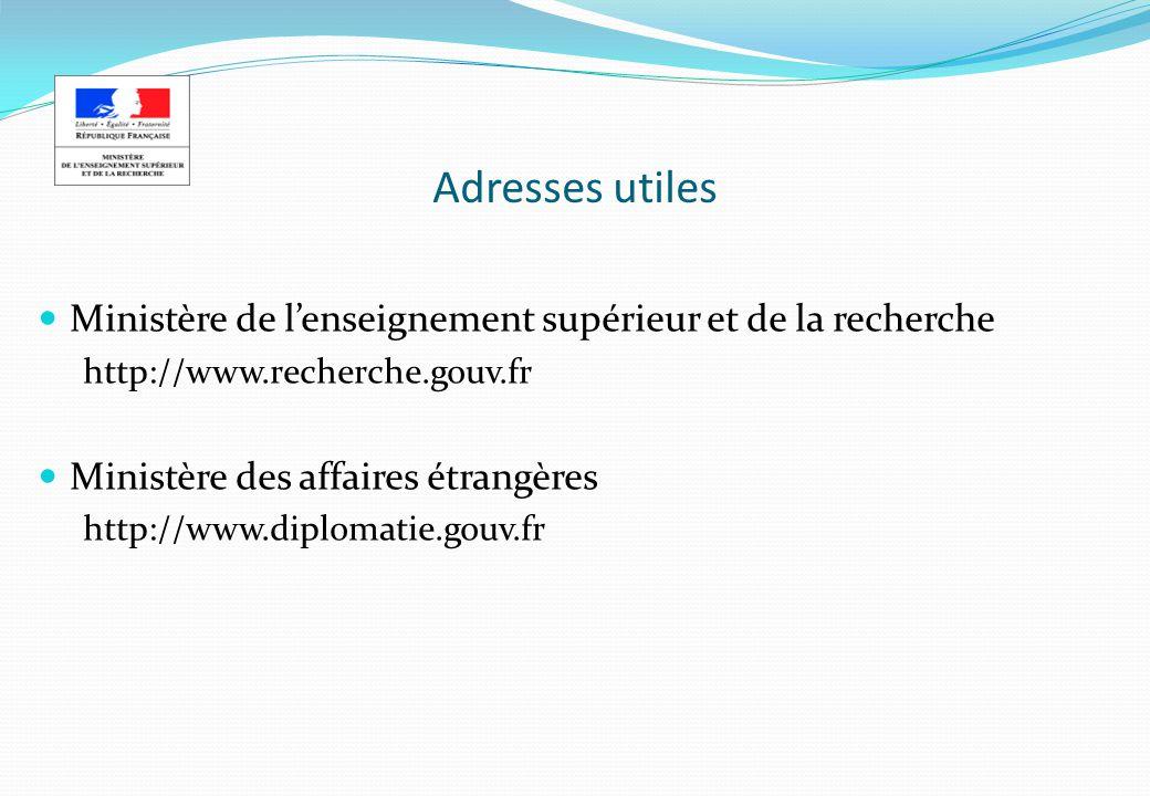 Adresses utiles Ministère de lenseignement supérieur et de la recherche http://www.recherche.gouv.fr Ministère des affaires étrangères http://www.dipl