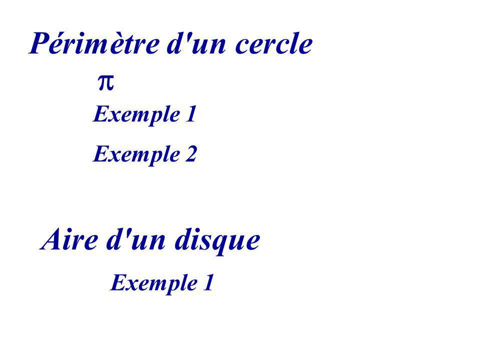 Périmètre d'un cercle Aire d'un disque Exemple 1 Exemple 2 Exemple 1