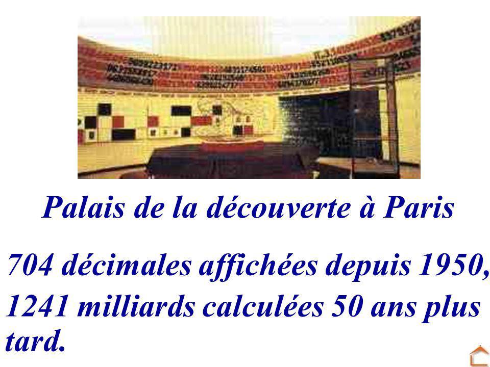 Palais de la découverte à Paris 704 décimales affichées depuis 1950, 1241 milliards calculées 50 ans plus tard.
