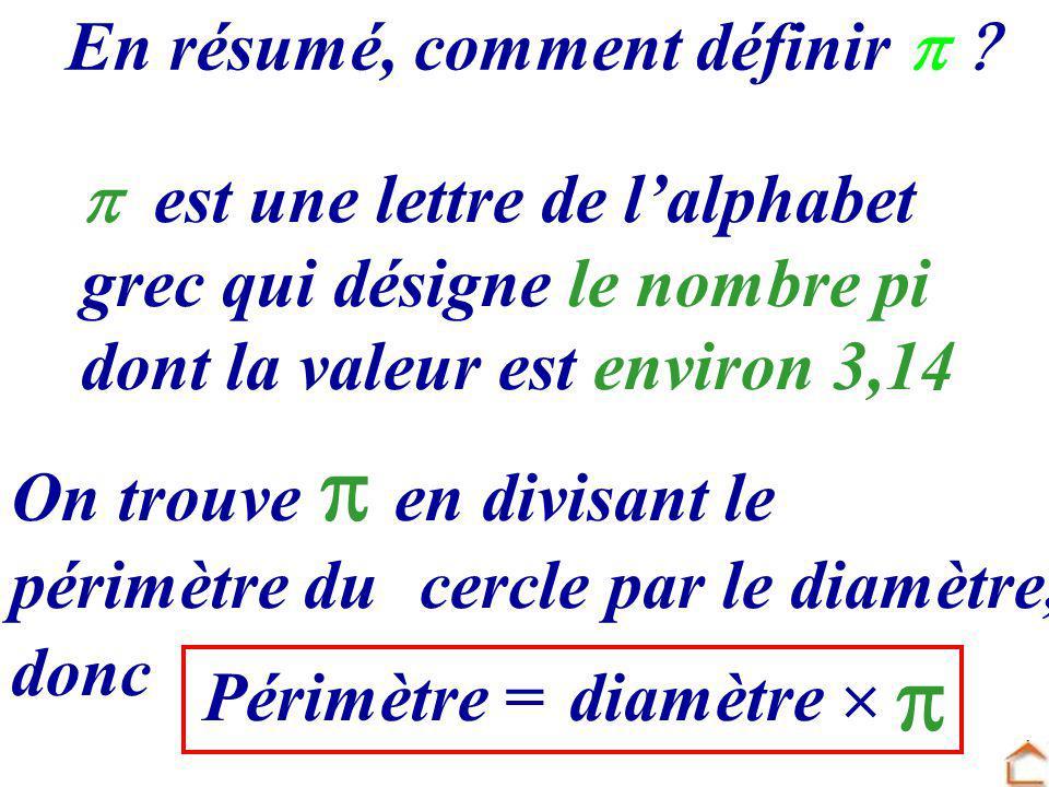 est une lettre de l alphabet grec qui désigne le nombre pi dont la valeur est environ 3,14 En résumé, comment définir périmètre du c ercle par le diam