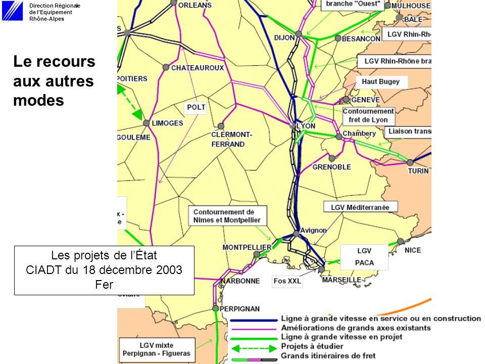 Direction Régionale de lEquipement Rhône-Alpes 13 février 2006 Le recours aux autres modes Les projets de lÉtat CIADT du 18 décembre 2003 Fer