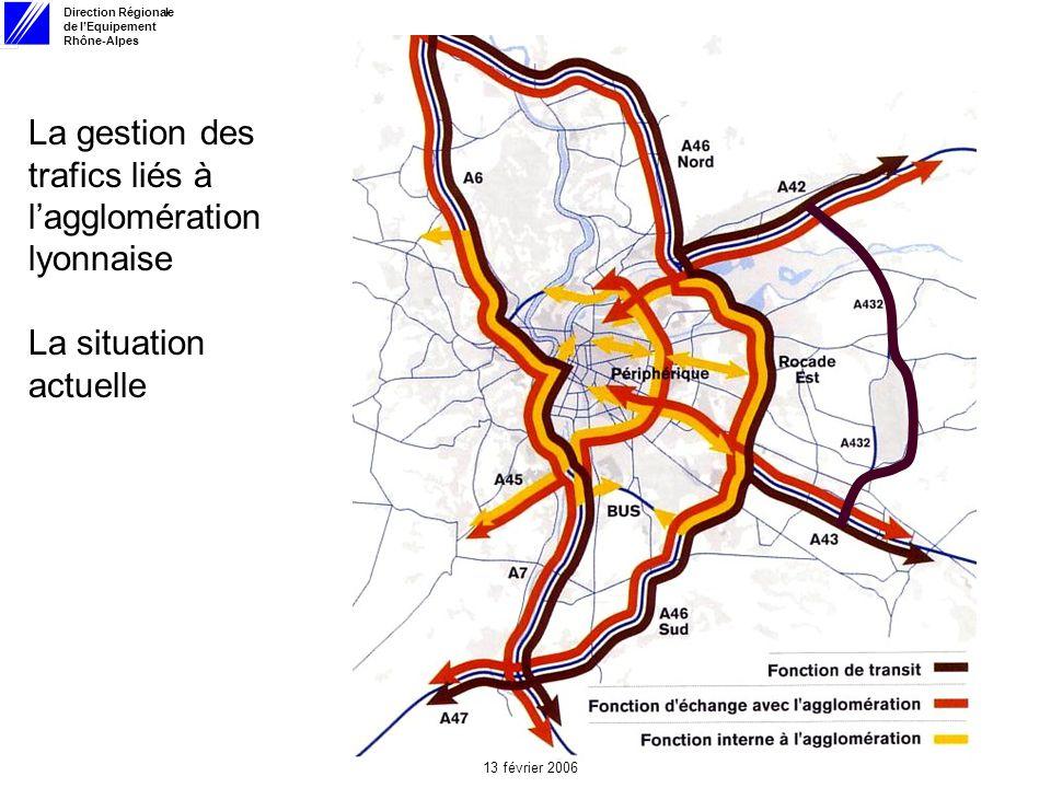 Direction Régionale de lEquipement Rhône-Alpes 13 février 2006 La gestion des trafics liés à lagglomération lyonnaise La situation actuelle
