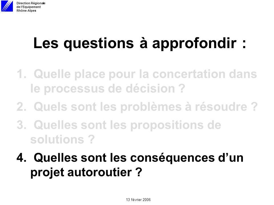 Direction Régionale de lEquipement Rhône-Alpes 13 février 2006 Les questions à approfondir : 1.