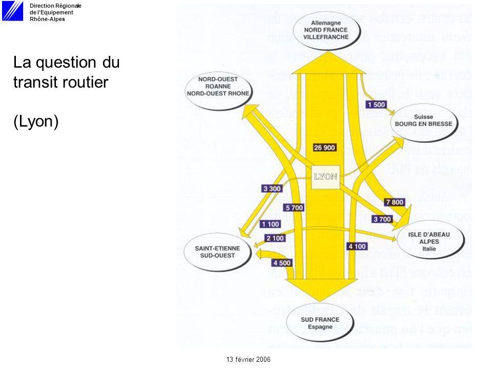 Direction Régionale de lEquipement Rhône-Alpes 13 février 2006 La question du transit routier (Lyon)