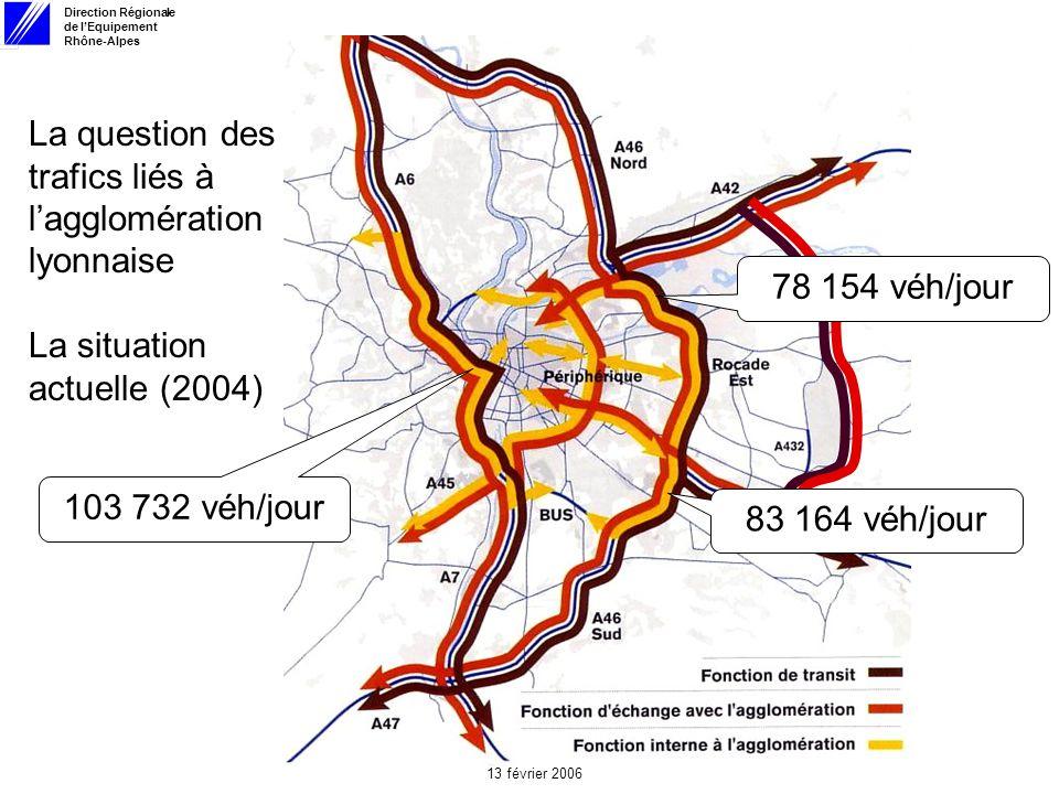 Direction Régionale de lEquipement Rhône-Alpes 13 février 2006 La question des trafics liés à lagglomération lyonnaise La situation actuelle (2004) 103 732 véh/jour 78 154 véh/jour 83 164 véh/jour