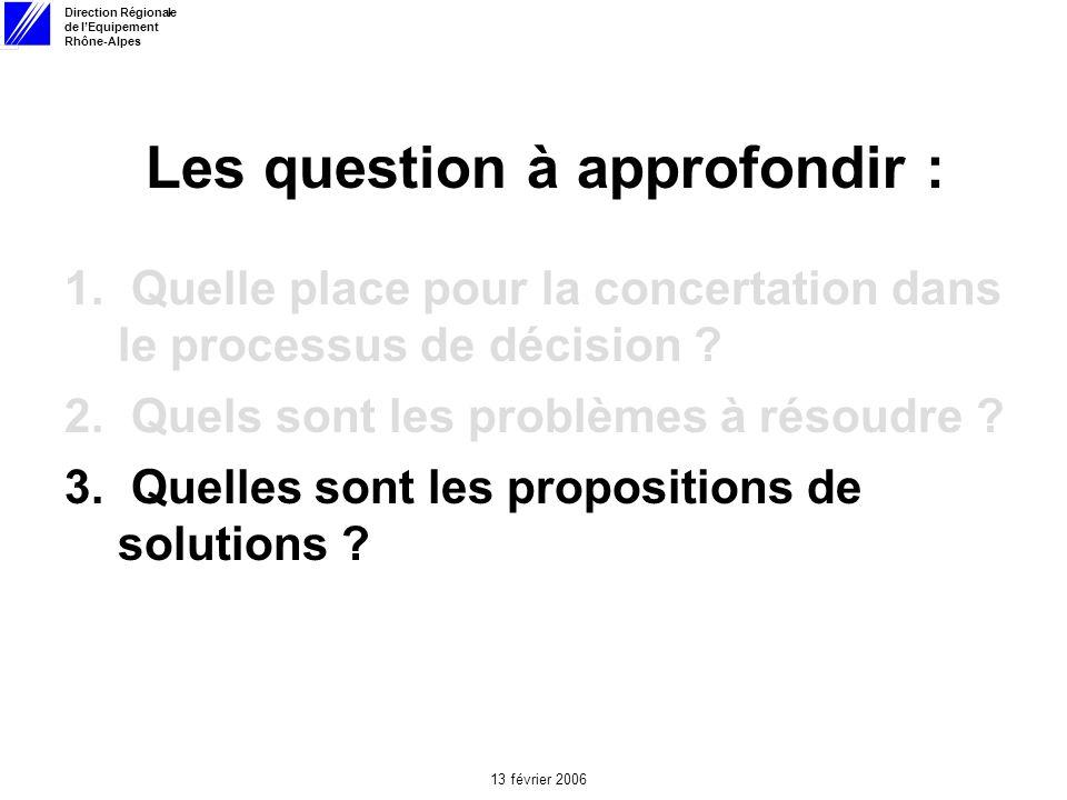 Direction Régionale de lEquipement Rhône-Alpes 13 février 2006 Les question à approfondir : 1.
