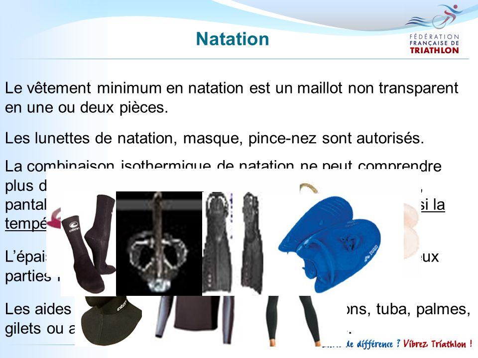 La combinaison isothermique de natation ne peut comprendre plus de trois parties ; cagoule, haut avec ou sans manches, pantalon. A noter que le port d