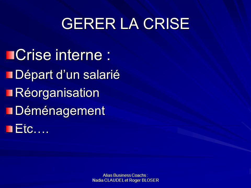 Alias Business Coachs : Nadia CLAUDEL et Roger BLOSER GERER LA CRISE Crise interne : Départ dun salarié RéorganisationDéménagementEtc….