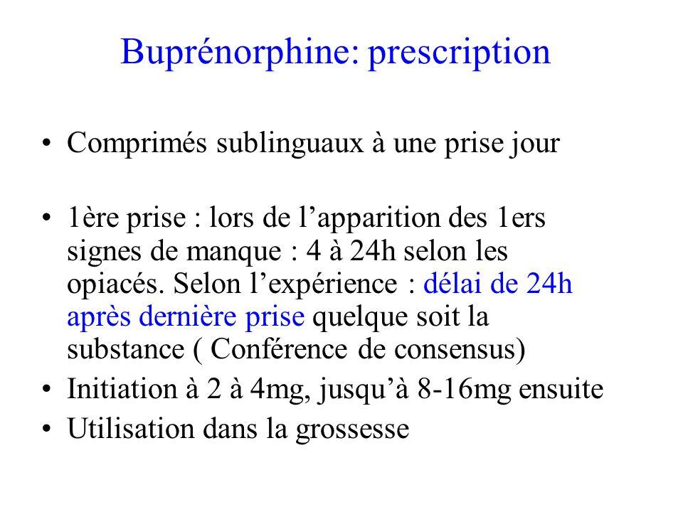 Buprénorphine: prescription Comprimés sublinguaux à une prise jour 1ère prise : lors de lapparition des 1ers signes de manque : 4 à 24h selon les opiacés.