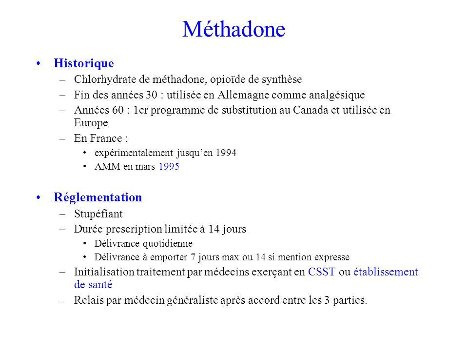 Méthadone Historique –Chlorhydrate de méthadone, opioïde de synthèse –Fin des années 30 : utilisée en Allemagne comme analgésique –Années 60 : 1er programme de substitution au Canada et utilisée en Europe –En France : expérimentalement jusquen 1994 AMM en mars 1995 Réglementation –Stupéfiant –Durée prescription limitée à 14 jours Délivrance quotidienne Délivrance à emporter 7 jours max ou 14 si mention expresse –Initialisation traitement par médecins exerçant en CSST ou établissement de santé –Relais par médecin généraliste après accord entre les 3 parties.