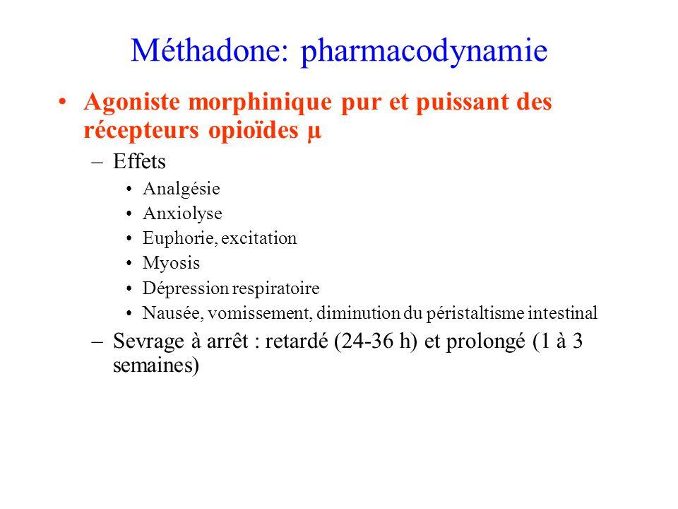 Méthadone: pharmacodynamie Agoniste morphinique pur et puissant des récepteurs opioïdes µ –Effets Analgésie Anxiolyse Euphorie, excitation Myosis Dépression respiratoire Nausée, vomissement, diminution du péristaltisme intestinal –Sevrage à arrêt : retardé (24-36 h) et prolongé (1 à 3 semaines)