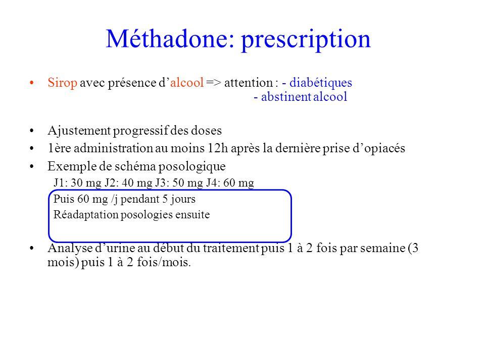 Méthadone: prescription Sirop avec présence dalcool => attention : - diabétiques - abstinent alcool Ajustement progressif des doses 1ère administration au moins 12h après la dernière prise dopiacés Exemple de schéma posologique J1: 30 mg J2: 40 mg J3: 50 mg J4: 60 mg Puis 60 mg /j pendant 5 jours Réadaptation posologies ensuite Analyse durine au début du traitement puis 1 à 2 fois par semaine (3 mois) puis 1 à 2 fois/mois.