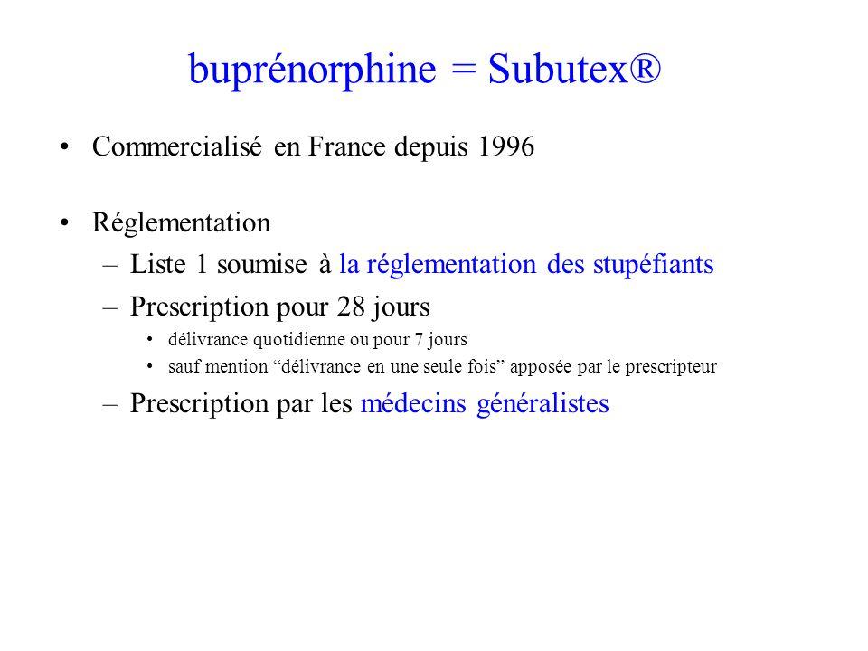 buprénorphine = Subutex® Commercialisé en France depuis 1996 Réglementation –Liste 1 soumise à la réglementation des stupéfiants –Prescription pour 28 jours délivrance quotidienne ou pour 7 jours sauf mention délivrance en une seule fois apposée par le prescripteur –Prescription par les médecins généralistes