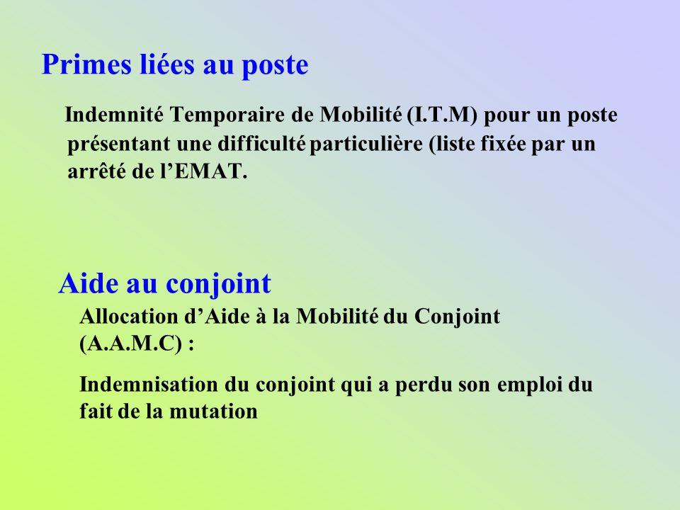 Primes liées au poste Indemnité Temporaire de Mobilité (I.T.M) pour un poste présentant une difficulté particulière (liste fixée par un arrêté de lEMA
