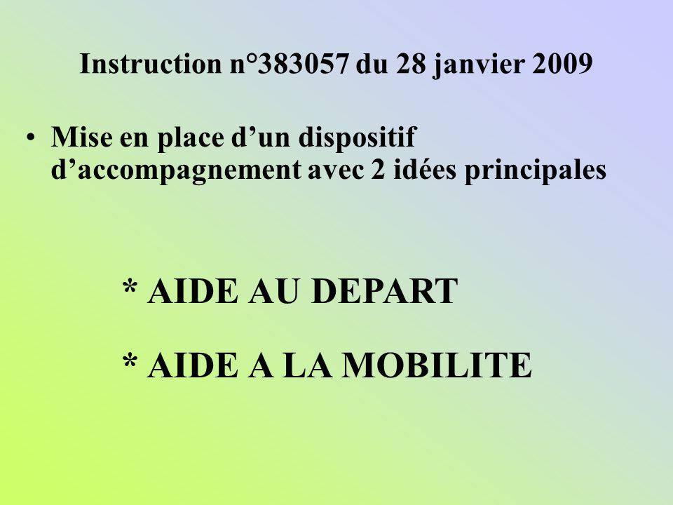 Instruction n°383057 du 28 janvier 2009 Mise en place dun dispositif daccompagnement avec 2 idées principales * AIDE AU DEPART * AIDE A LA MOBILITE