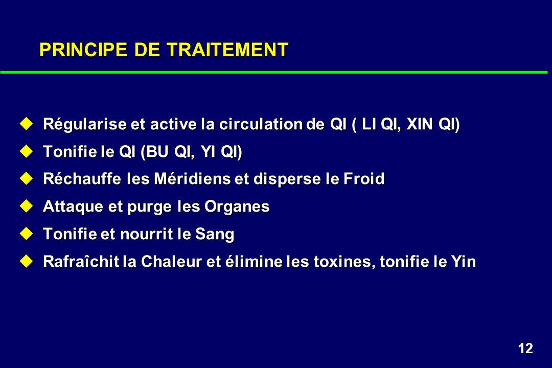 12 PRINCIPE DE TRAITEMENT Régularise et active la circulation de QI ( LI QI, XIN QI) Régularise et active la circulation de QI ( LI QI, XIN QI) Tonifi