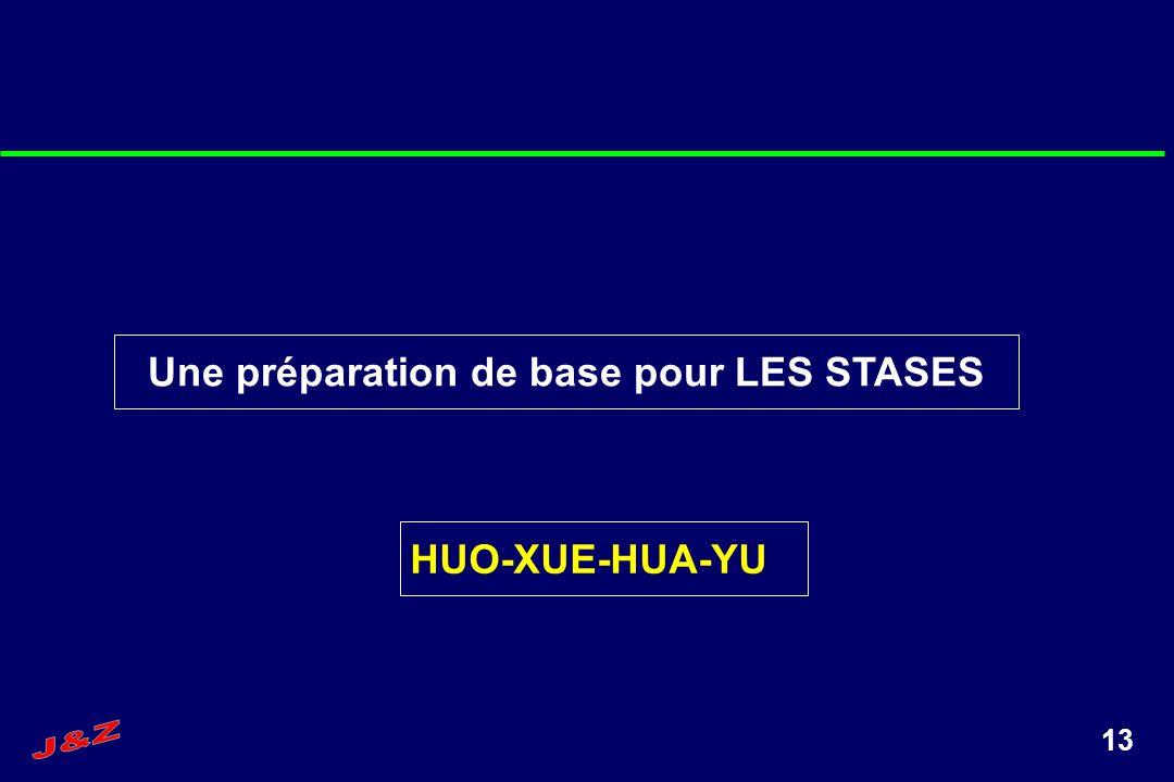 13 Une préparation de base pour LES STASES HUO-XUE-HUA-YU
