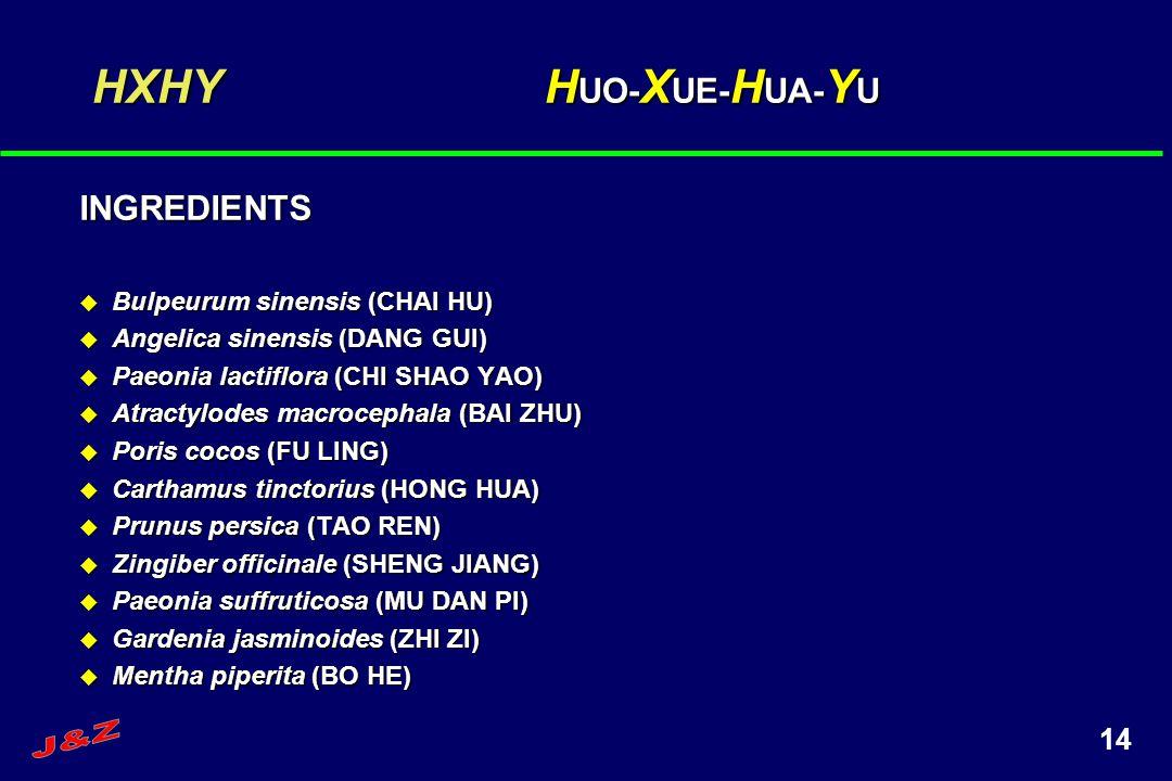 14 HXHY H UO- X UE- H UA- Y U INGREDIENTS Bulpeurum sinensis (CHAI HU) Bulpeurum sinensis (CHAI HU) Angelica sinensis (DANG GUI) Angelica sinensis (DA