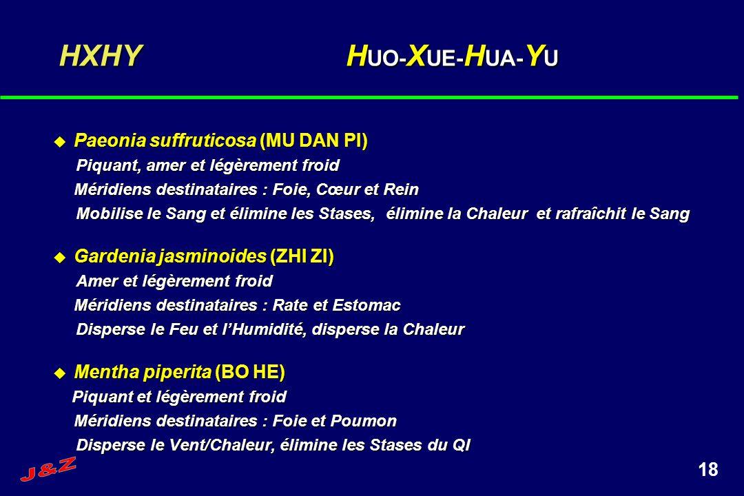 18 HXHY H UO- X UE- H UA- Y U Paeonia suffruticosa (MU DAN PI) Paeonia suffruticosa (MU DAN PI) Piquant, amer et légèrement froid Piquant, amer et lég