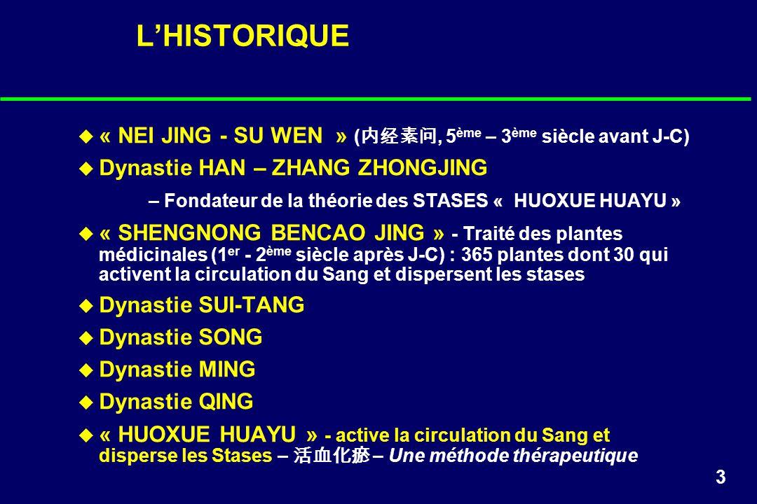 3 LHISTORIQUE « NEI JING - SU WEN » (, 5 ème – 3 ème siècle avant J-C) Dynastie HAN – ZHANG ZHONGJING – Fondateur de la théorie des STASES « HUOXUE HU