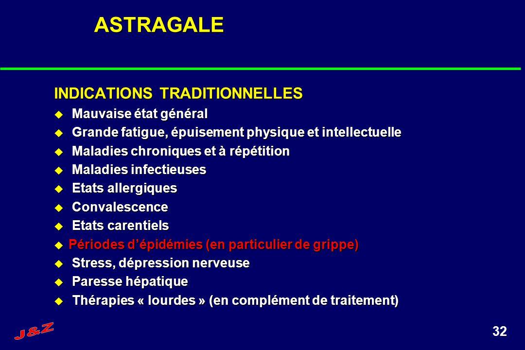 32ASTRAGALE INDICATIONS TRADITIONNELLES Mauvaise état général Mauvaise état général Grande fatigue, épuisement physique et intellectuelle Grande fatig
