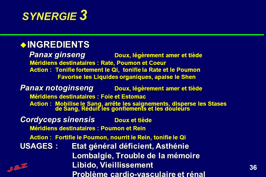 36 SYNERGIE 3 INGREDIENTS INGREDIENTS Panax ginseng Doux, légèrement amer et tiède Panax ginseng Doux, légèrement amer et tiède Méridiens destinataire