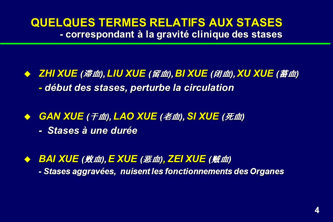 4 QUELQUES TERMES RELATIFS AUX STASES - correspondant à la gravité clinique des stases ZHI XUE ( ), LIU XUE ( ), BI XUE ( ), XU XUE ( ) ZHI XUE ( ), L