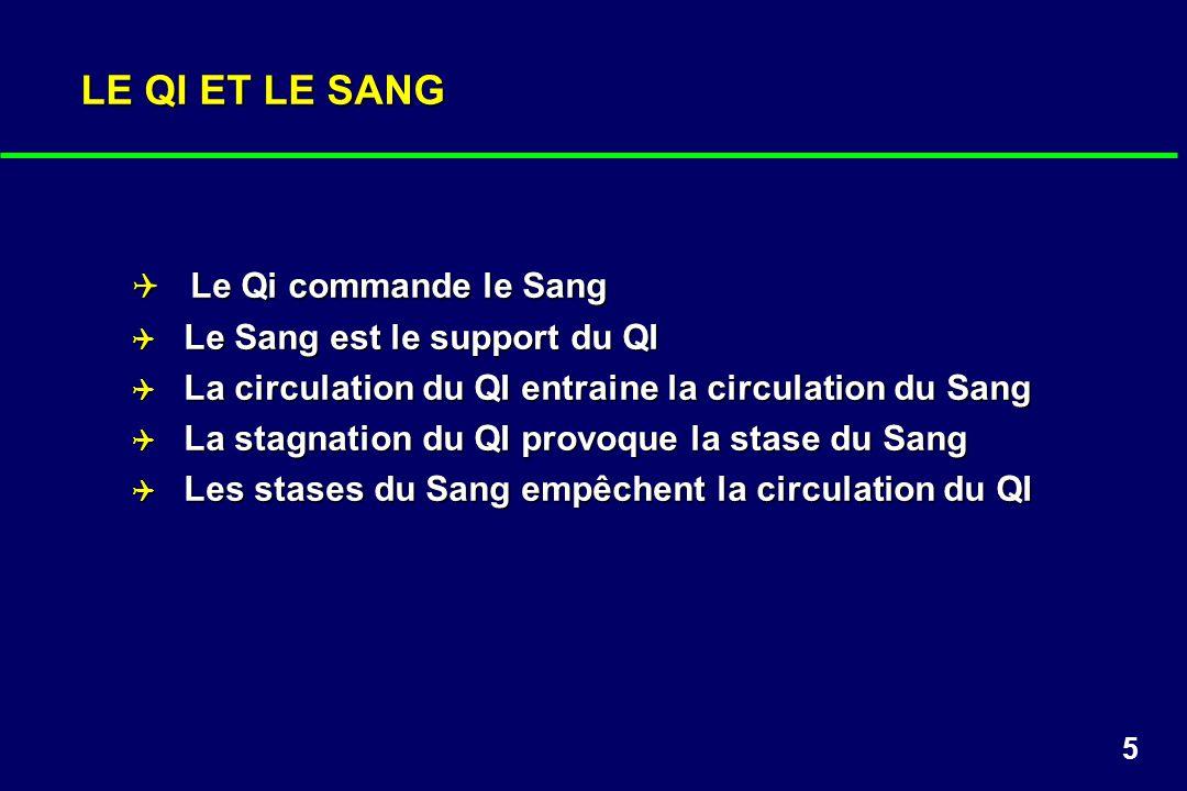 5 LE QI ET LE SANG Le Qi commande le Sang Le Qi commande le Sang Le Sang est le support du QI Le Sang est le support du QI La circulation du QI entrai