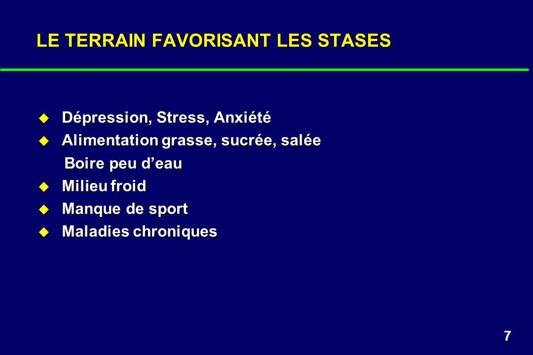 7 LE TERRAIN FAVORISANT LES STASES Dépression, Stress, Anxiété Dépression, Stress, Anxiété Alimentation grasse, sucrée, salée Alimentation grasse, suc