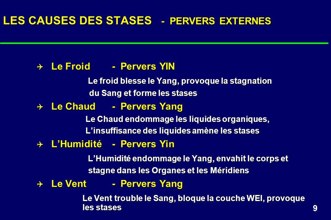 9 LES CAUSES DES STASES - PERVERS EXTERNES Le Froid - Pervers YIN Le Froid - Pervers YIN Le froid blesse le Yang, provoque la stagnation Le froid bles