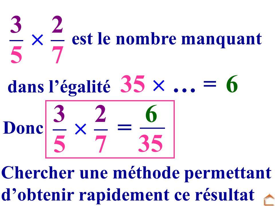 3535 2727 dans légalité est le nombre manquant.. … =... 635 Donc 3535 2727 = 6 35 Chercher une méthode permettant dobtenir rapidement ce résultat